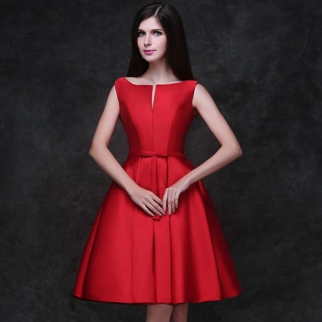 4486ae4bf Simple sin mangas vestidos coctel rojo elegante de la alta calidad Stain  sobre la rodilla Lace
