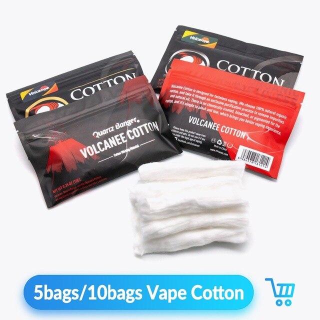 Volcanee 10 túi/20 túi Vape Cotton Hơi Thủ 10 cái Sọc Cho RTA RDA Tank Kayfun V5 Chế Tạo Nguyên Tử E Thuốc Lá Vape Phụ Kiện