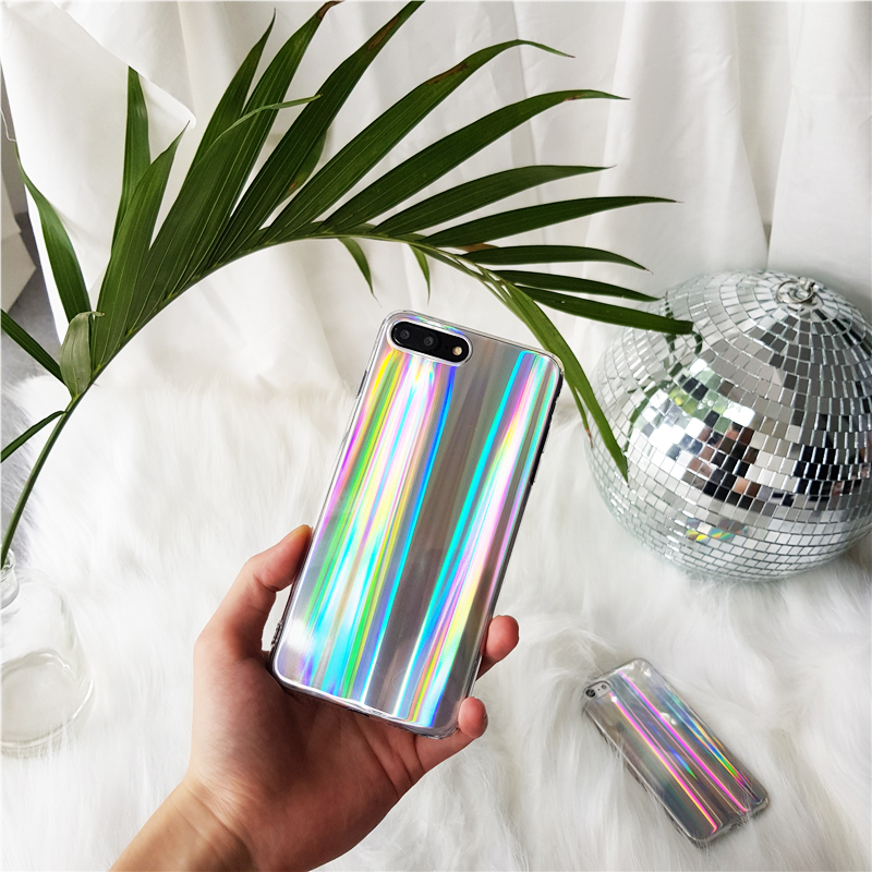 Colorful Phone Case for iPhone X Cool Laser Rainbow Shining Case for iPhone 6 6S 7 8 Plus Soft TPU Back Bags Coque Capa Cover ...
