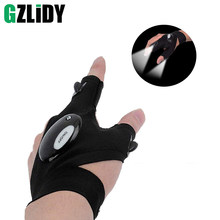 Finger light fishing lights cotton outdoor sports gloves LED gloves lights night night repair ride button battery torch(China)