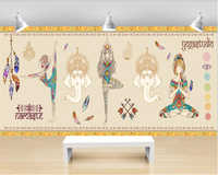 beibehang papel de parede wallpaper Wall painting background wall in the dance room of Fu Gu yoga hall papel tapiz hudas beauty