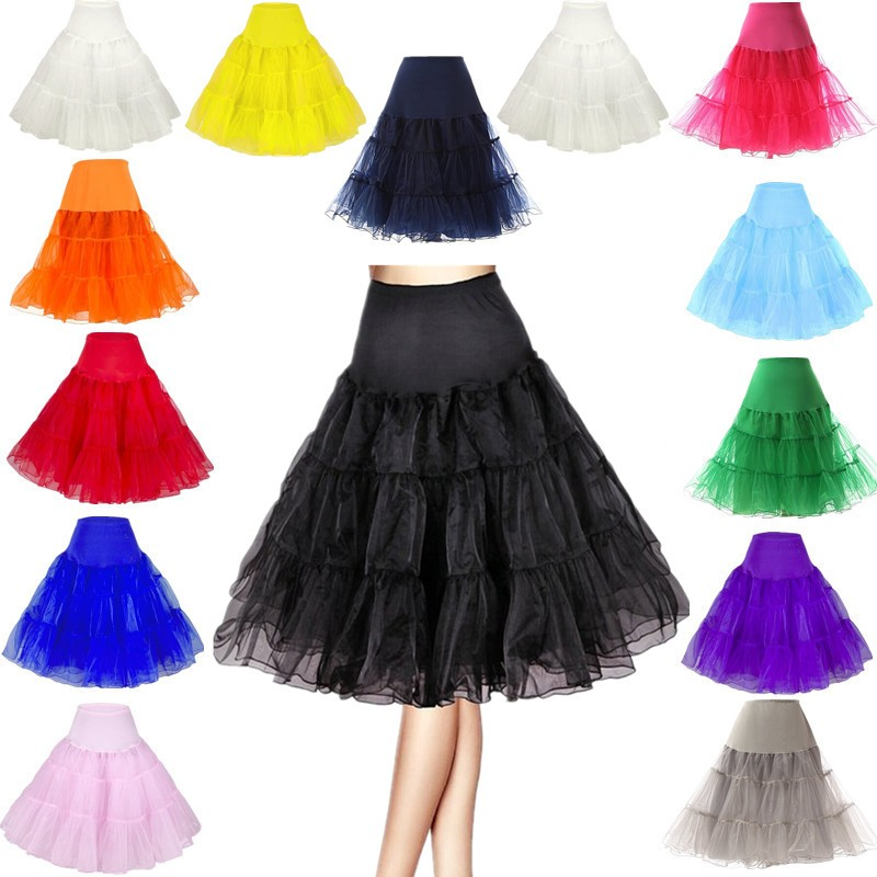 MOONIGHT Summer Tulle Skirts Womens Fashion High Waist Pleated Tutu Skirt Retro Vintage Underskirt Women