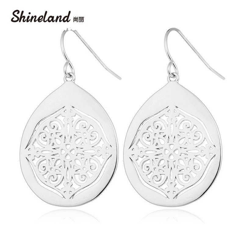 Shineland Vintage Earrings for Women Gold/Silver Color Hollow Out Carved Flower Alloy Dangle Earring Bohemian Jewelry for Women