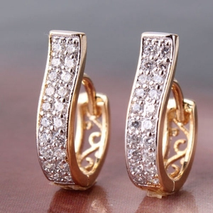 2 pieces/set Women Elegant Rose Gold color Stainless Steel Cute Stud Earrings for Girls brand Earrings Jewelry Drop Shipping
