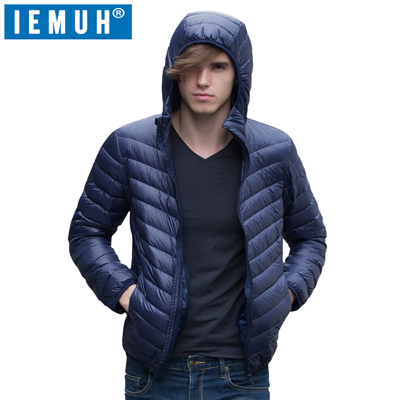 IEMUH White Duck Down Jacket Men Autumn Winter Warm Coat Mens Ultralight Duck Down Jacket Male Windproof Parka Top Casual Brand