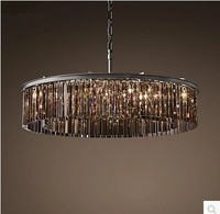 American Style Crystal Lamp Wrought Iron Antique Simple Retro Lamp Living Room Modern Villa Atmosphere Pendant