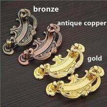 64mm gold drawer cabinet pulls knob 96mm bronze antique copper dresser handles vintage style shaky rings furniture  handles 2.5″