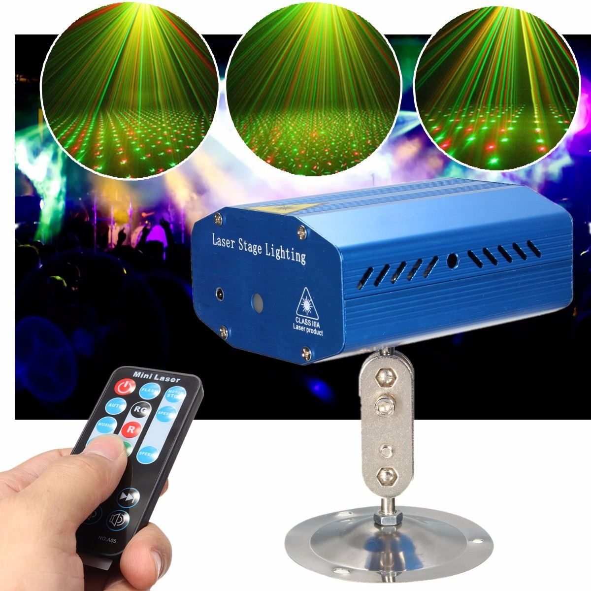 Star Laser Projector Sound Remote Control Stage Light LED Night Lamp Holder Club Pub Bar Disco Wedding Party Show Lighting