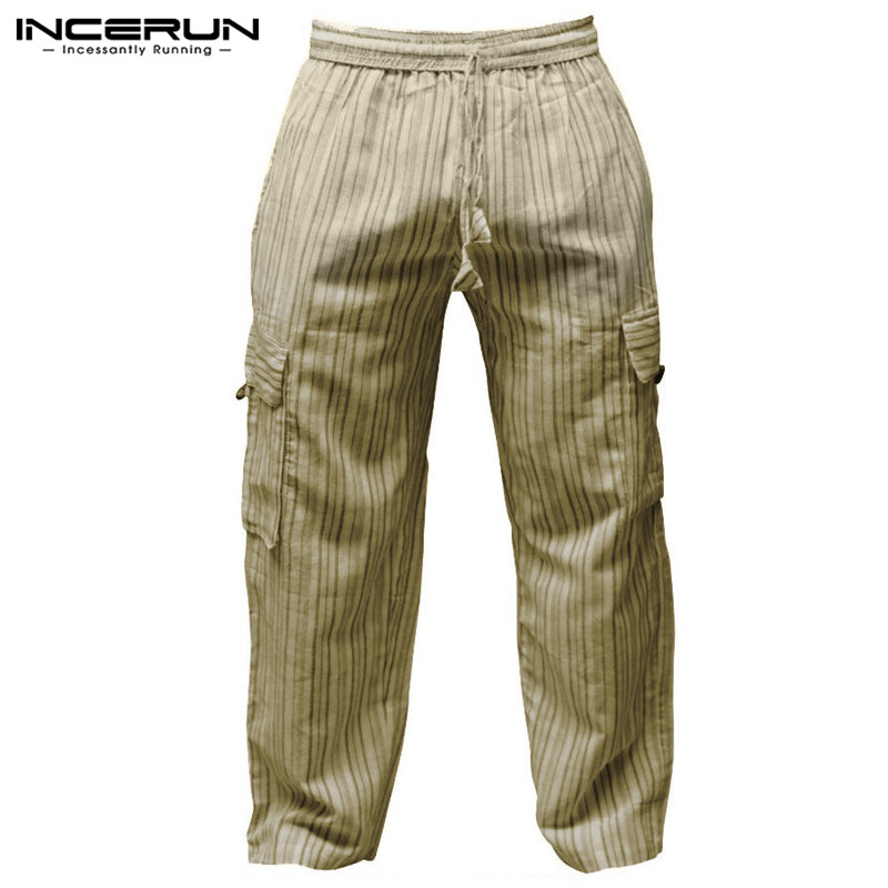 Retro 5XL Summer Men Cargo Trousers Harem Pants Hiphop Baggy Wide Legs Striped 100%Cotton Loose Fit Joggers Side Pockets INCERUN