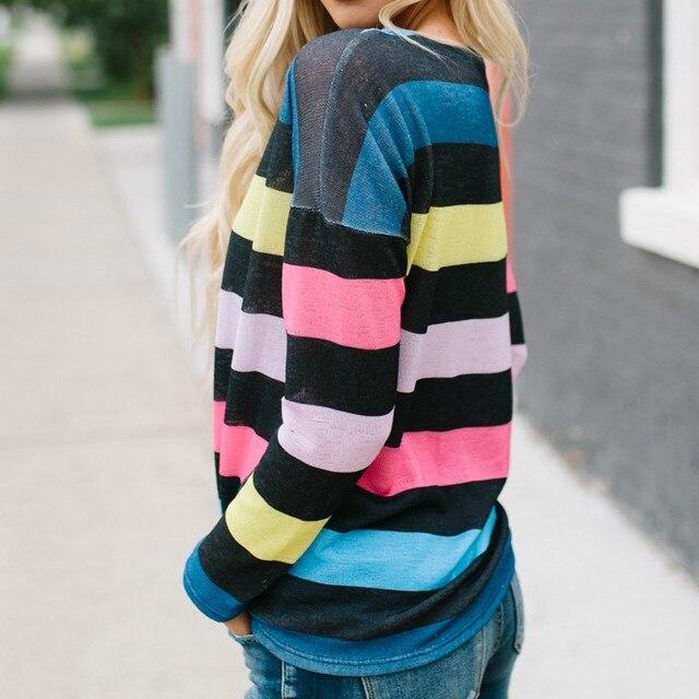 Long Sleeve Stripe Print T Shirt  1