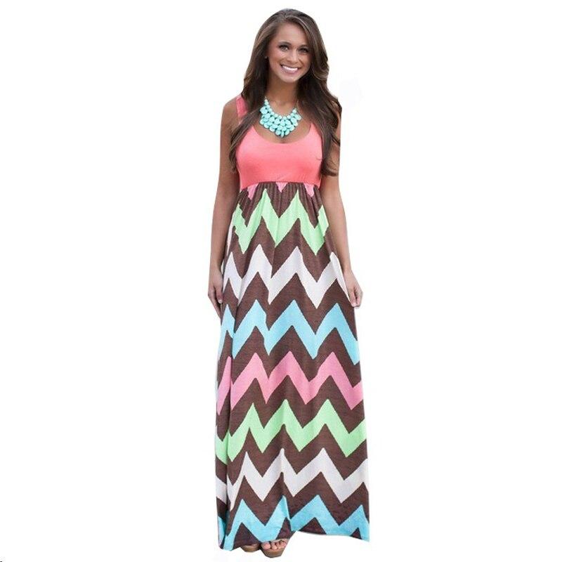 Laamei Patchwork Striped Wave High Waist Long Women Sundress 2018 Summer Sleeveless Elegant Dress Party Vestidos
