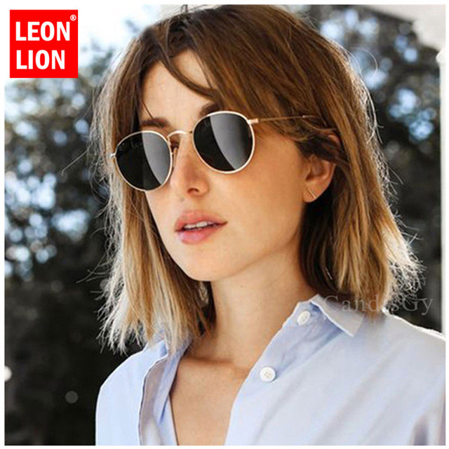 LeonLion Round Sunglasses Men/Women 2019 Mirror Retro Sunglasses Men Vintage Glasses Men Luxury Sun Glasses Metal Oculos De Sol