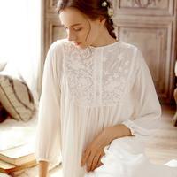 2019 spring summer fashion European palace retro princess 100% cotton sleep dress soft beauty lace sleepwear wj1750