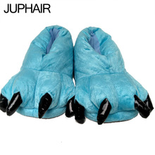 JUP Winter Warm Soft Interior Floor Slippers Men Women woman Shoes Paw Animal Funny Christmas Dinosaur Monster Claw House Plush