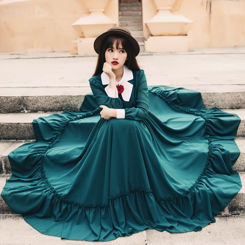 2016 Spring New women dress vestidos restore ancient ways rose female long sleeve green Chiffon ruffles dresses
