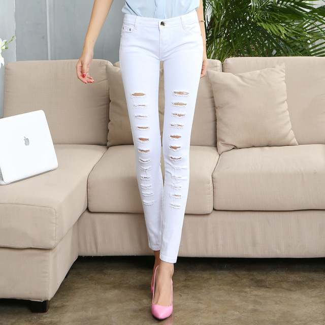 61ec05ba99c Summer Womens Distressed Curvy White Black Mid Waist Stretch Denim Pants  Ripped Solid Hole Jeans For Woman Jean