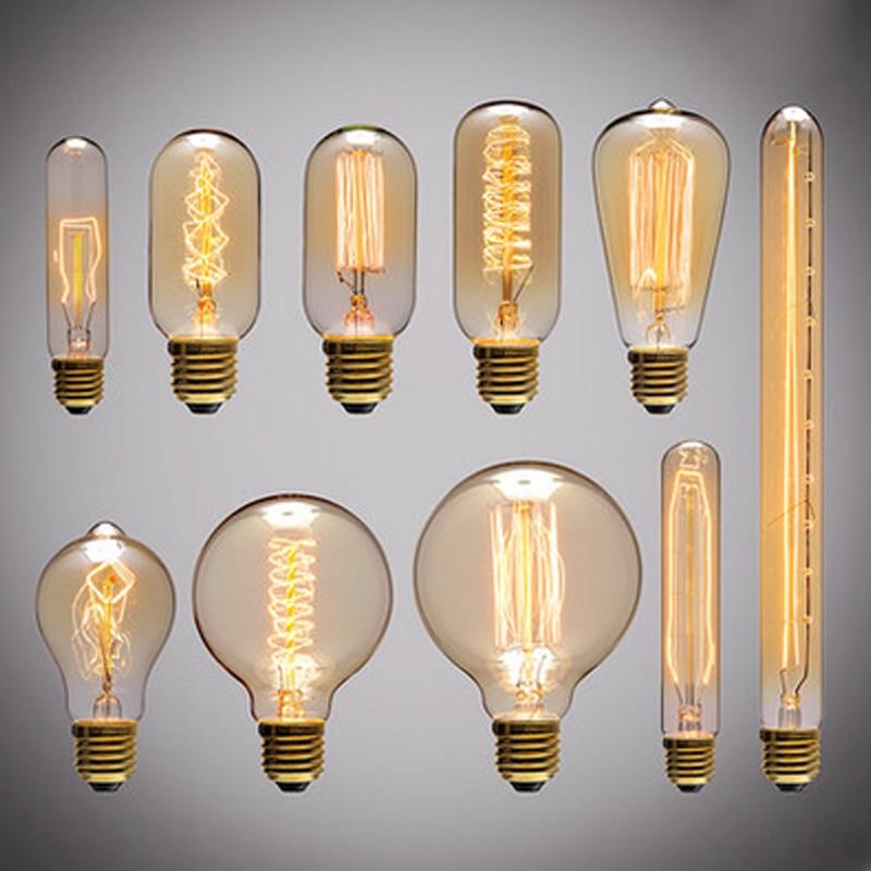 Vintage Edison Bulbs E27 Incandescent Bulbs ST64 G80 Filament Bulb  Squirrel-cage Carbon Bulb Retro Edison Light For Pendant Lamp