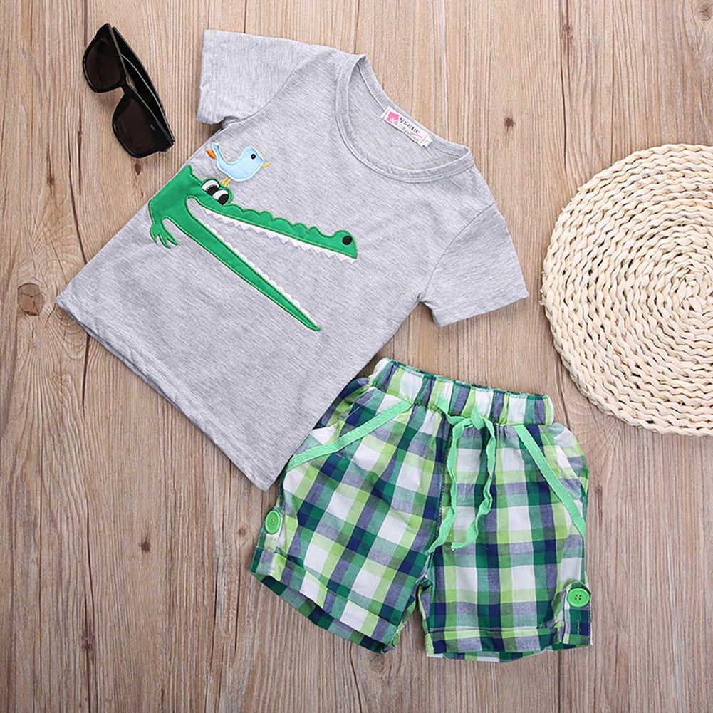 Cartoon Krokodil Baby Peuter Baby Kids Jongens Top t-shirt Broek 2 stks Korte Mouw Zomer Outfits Kleding Set