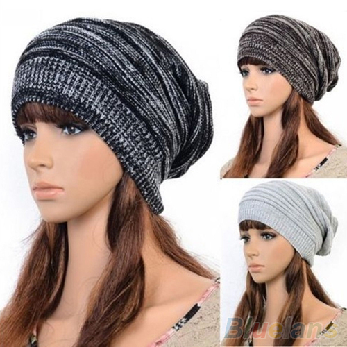 Hot New Unisex Womens Mens Knit Baggy Beanie Hat Winter Warm Oversized Cap 225M