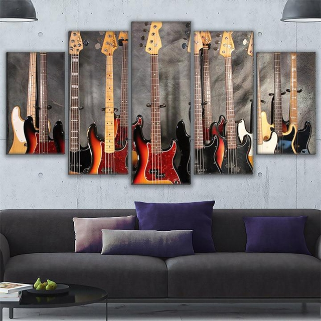 Wall Art Modern Pictures Frame HD Prints Home Decor 5 Pieces Bass Guitar Collage Canvas Painting