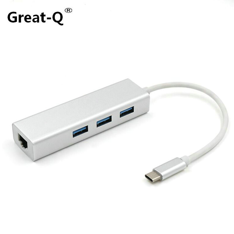 Great-Q Aluminum USB 3.1 Type C to 3Port USB 3.0 Hub with RJ45 10/100/1000 Gigabit Ethernet Network Adapter LAN  Converter Cable usb 3 0 1000mbps gigabit ethernet adapter usb to rj45 lan network card 3 port usb3 0 hub for windows 7 8 10 vista xp macos pc