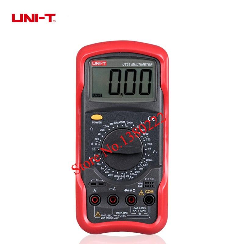 UNI-T UT52  Digital Multimeter Portable Voltmeter Tester Meter  AC/DC frequency multimeter Ammeter Multitester mini multimeter holdpeak hp 36c ad dc manual range digital multimeter meter portable digital multimeter