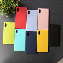 Square TPU Silicone Case For iPhone XS 8 7 Plus Candy Color Soft Phone Back Cases For iPhone X 7 6 6s Plus Case Cover Coque(China)