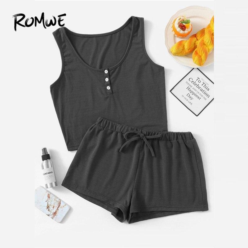 ROMWE Women   Pajama     Sets   Button Front Tank With Elastic Waist Shorts PJ   Set   Summer Nightwear Two Piece Sleepwear Suits 7 Colors