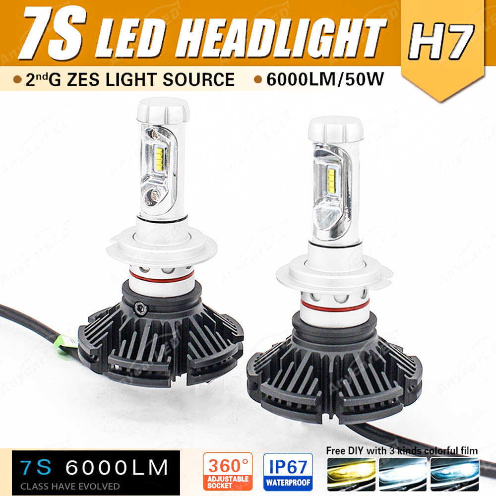 1 Set H7 7S LED Headlight Kit 50W 6000LM LUMILED LUXEON ZES 2nd Chips Fanless All-in-one External Driver DIY Retrofit 3K 6.5K 8K