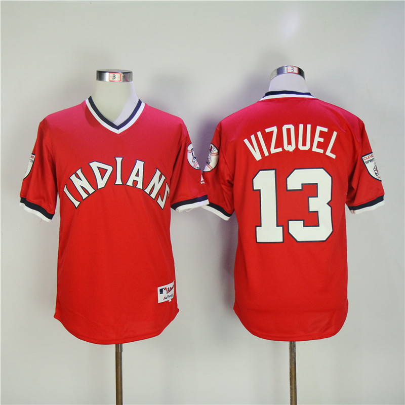 Mens Retro Cleveland Indians OMAR VIZQUEL Pullover Fully Stitched Throwback Baseball Jer ...