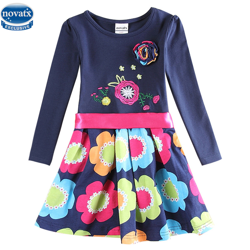 Novatx 5868 newest design girls flower frocks children clothes hot dresses baby dresses long sleeve baby