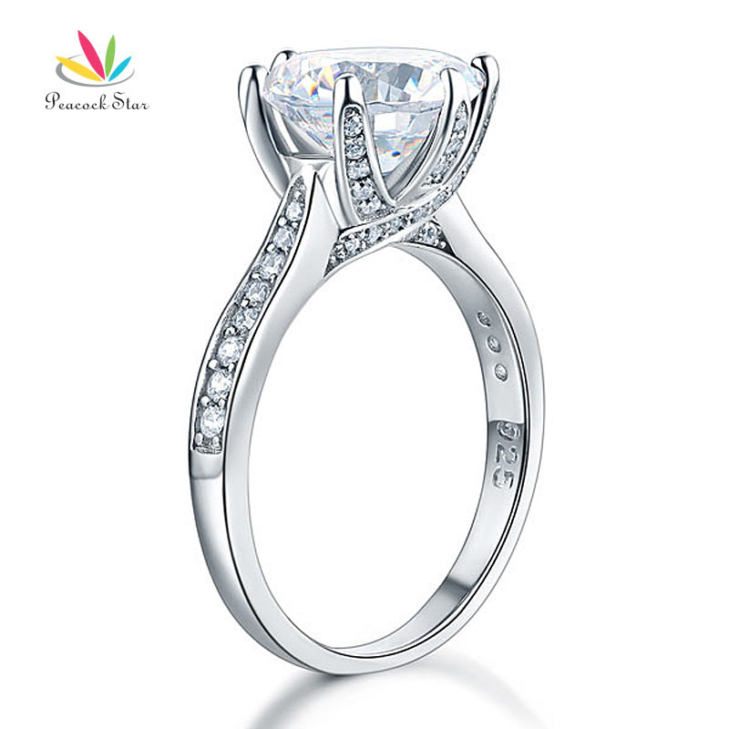 925 Sterling Silver Luxury Wedding Engagement Ring 3 Carat Created Diamond Jewelry Free Shipping CFR8228