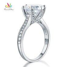 Pavo real Estrella de Plata de ley 925 Anillo de Compromiso Del Aniversario de Boda de Lujo 3 Ct Creado Diamond Joyería CFR8228
