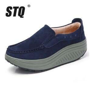 Image 2 - STQ 2020 Thu Đế Phẳng Giày Nữ Đế Giày Sneakers Da Da Lộn Cổ Trơn Trượt Trên Bãi Cây Leo Mộc Mạch Trà 2122