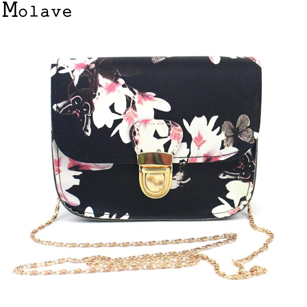 bolsa feminina Women Hot Butterfly Flower Printing Chains Pu Leather Messenger Bag Girl Elegant Shoulder Bag Fashion Purse 2017