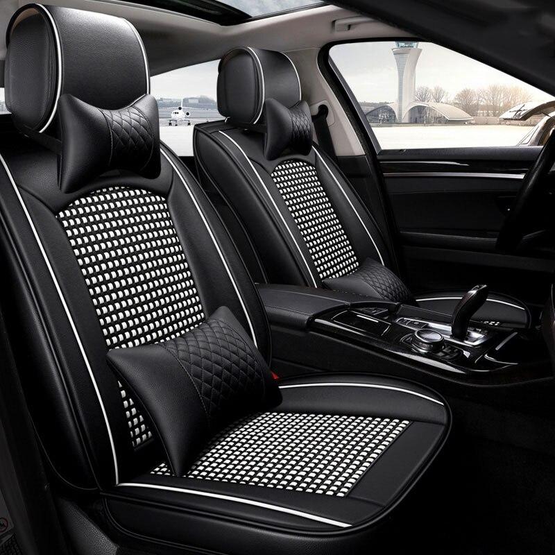 Универсальный Кожа шелк льда сиденья автомобиля сиденье протектор для Subaru Леоне Outback svx vivio Trabeca bb Ssang Yong musso