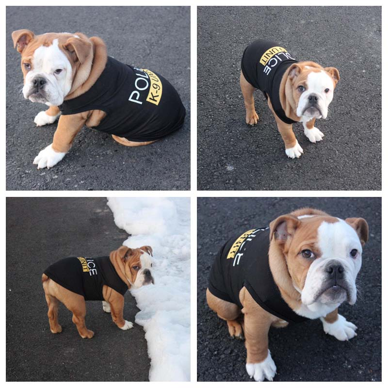 Cute Little Puppy Police Vest T-Shirt Summer Pet Costume Polyester Small Dog Cat Clothes Super Breathable Puppy Poodle Apparel