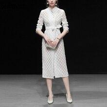 Seifrmann New 2019 Women Spring Summer Dress Runway Fashion Designer Long Sleeve Bow Tie Embroidery Elegant Casual White Dresses
