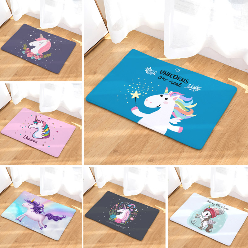 Unicorn Bath Mat 50x80cm Cartoon Printed Suede Rug Home Decoration Bathroom Toilet Carpet Anti-slip Kitchen Outdoor Floor Mat