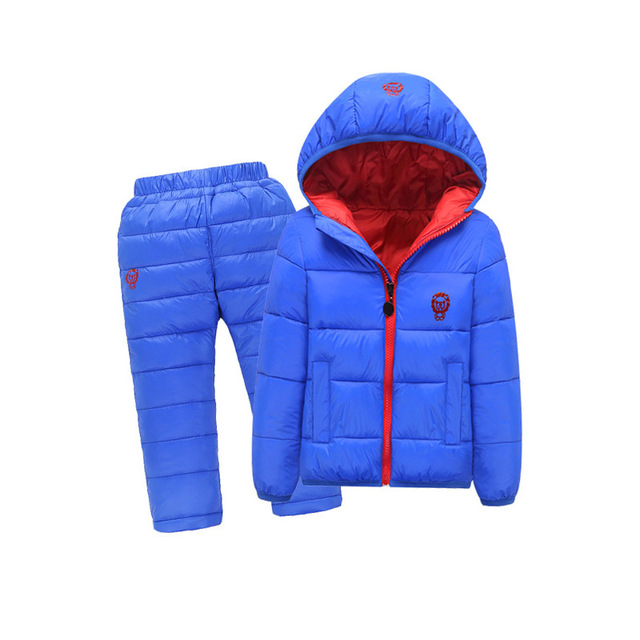 Kids Snowsuits Autumn Winter Down Cotton Coats Jackets Pant Baby Girls Boys  Clothes Set Children Hooded Casual Outerwear 2PCS