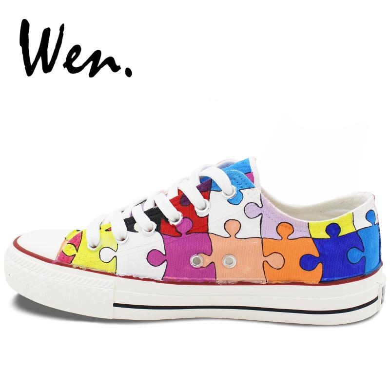 Вэнь мужская женская обувь с ручной росписью дизайн пользовательские красочные головоломки низкий верх парусиновые кроссовки подарки на Р... - 5