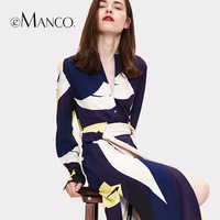 E Manco Spring And Summer New European And American Geometric Printing Fashion Stitching Dress Ol Long