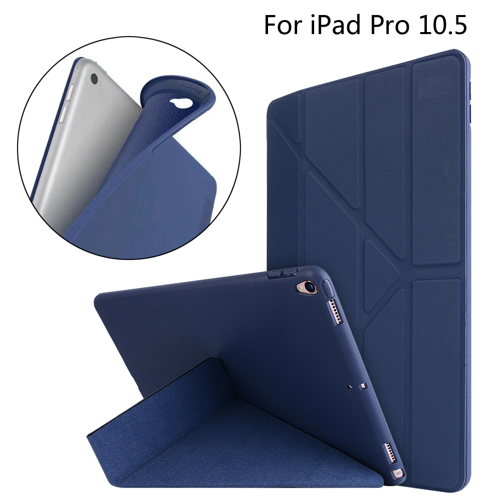 New 2017 Case For iPad Pro 10.5 A1701 A1709 Smart Cover TPU Leather Magnetic Foldable Tablet Cases Cover + Film + Stylus official original 1 1 case cover for apple ipad pro 12 9 2017 cases tpu smart clear cover for ipad pro ipad plus 12 9 2015 case
