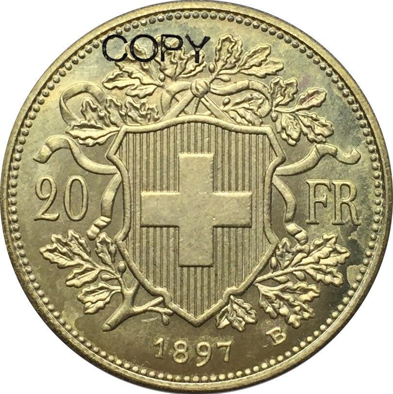 Swiss 20 Franc Gold 1897 B Brass Replica Copy Coin