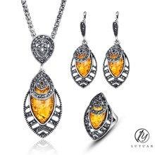 Vintage Wedding Jewelry Sets Fashion Women Bridal Set Jewelry Luxury Crystal Resin Jewelry Antique Leaf Holiday Jewelry Sets 20%