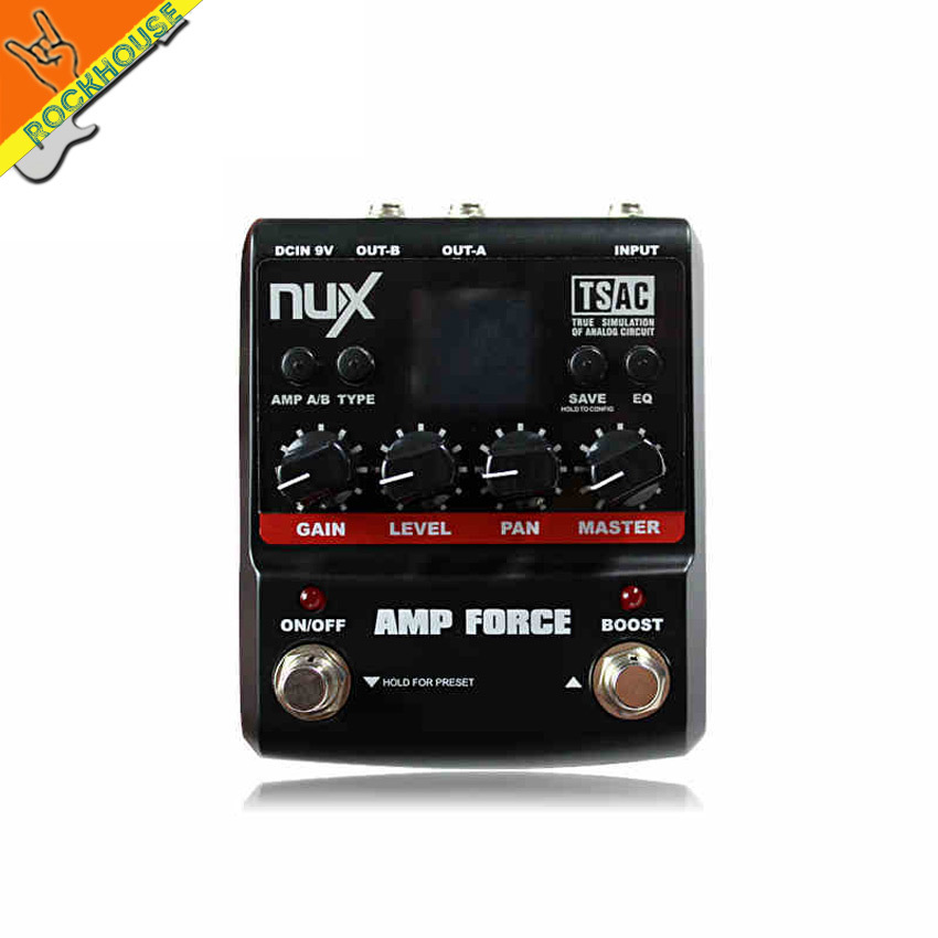 NUX AMP Force Electric Guitar Amp Simulator Effect Pedal with EQ 12 kinds of distortion overdrive clean Effects free shipping nux mg 20 electric guitar multi effects pedal guitarra modeling processor with drum machine eu plug