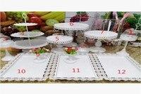 12pcs/lot white lace metal cake stand candy bar Dessert cake tray decoration wedding cake display prop