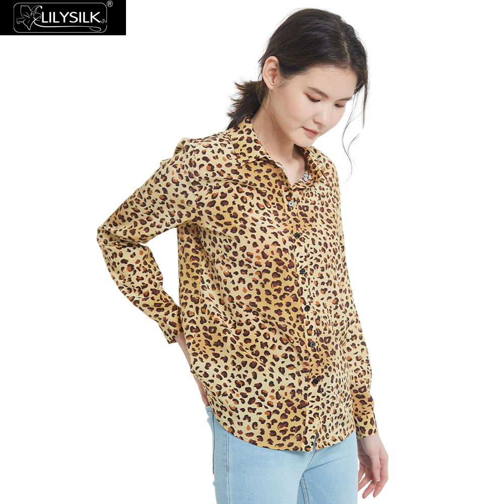 LilySilk Shirts Blouse Classic Leopard Silk Women Long Sleeve Soft Girl Free Shipping