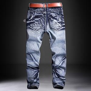 Image 2 - Мужские джинсы, мужские джинсы, мужские классические модные брюки, джинсовые байкерские брюки, облегающие мешковатые прямые брюки, дизайнерские рваные брюки
