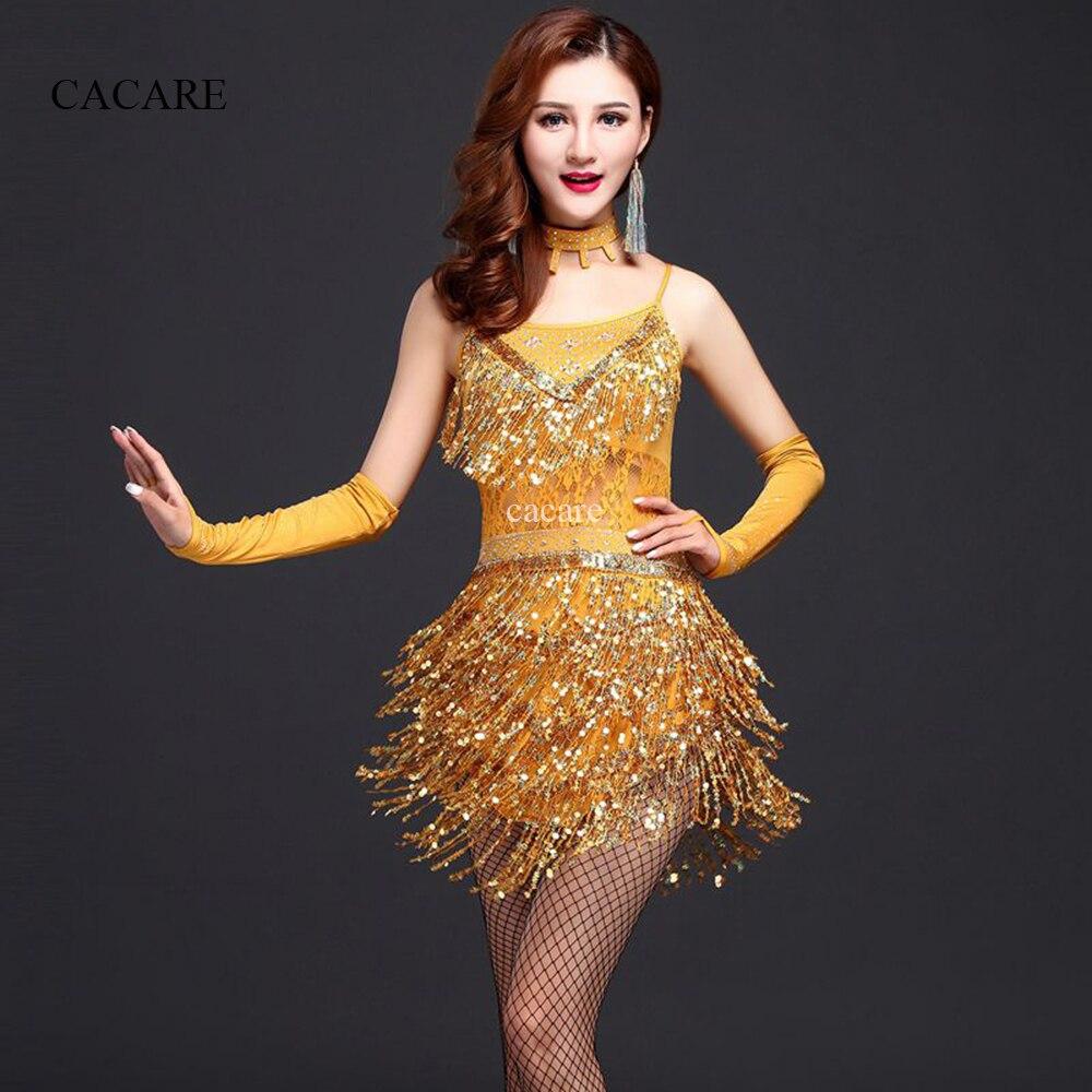 CACARE Latin Dance Dress Women Samba Salsa Tango Dance Dress Flapper D0049 Sequins Tassels Rhinestones Necklace Gloves 3 Choices